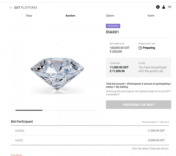 PIC_The first ever diamond auction in a GXT wallet using a GXT coin (Photo=GXT Project)